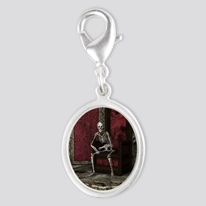 Gothic Waiting Skeleton Silver Oval Charm