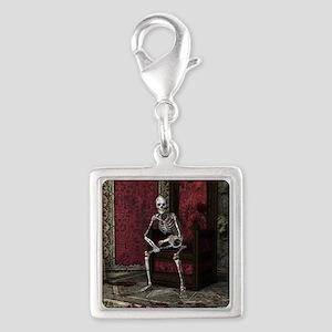 Gothic Waiting Skeleton Silver Square Charm