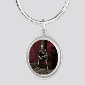 Gothic Waiting Skeleton Silver Oval Necklace