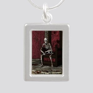Gothic Waiting Skeleton Silver Portrait Necklace