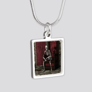 Gothic Waiting Skeleton Silver Square Necklace