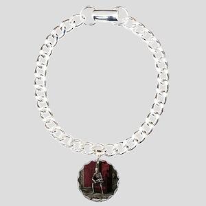 Gothic Waiting Skeleton Charm Bracelet, One Charm