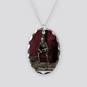Gothic Waiting Skeleton Necklace Oval Charm