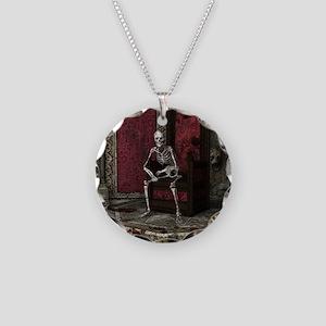 Gothic Waiting Skeleton Necklace Circle Charm