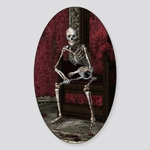 Gothic Waiting Skeleton Sticker (Oval)
