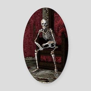 Gothic Waiting Skeleton Oval Car Magnet