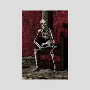 Gothic Waiting Skeleton Rectangle Magnet