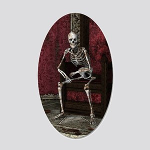 Gothic Waiting Skeleton 20x12 Oval Wall Decal