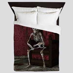 Gothic Waiting Skeleton Queen Duvet