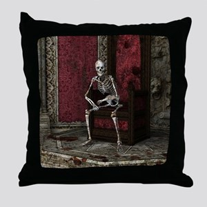Gothic Waiting Skeleton Throw Pillow