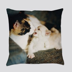 CALICO CAT AND WHITE KITTY Everyday Pillow