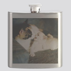 CALICO CAT AND WHITE KITTY Flask