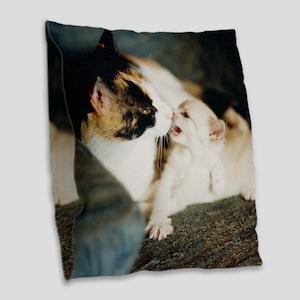 CALICO CAT AND WHITE KITTY Burlap Throw Pillow
