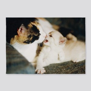 CALICO CAT AND WHITE KITTY 5'x7'Area Rug