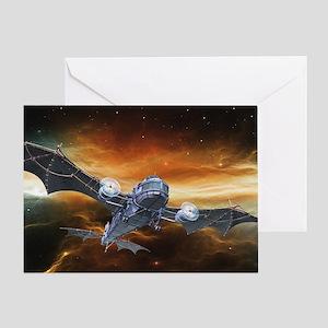 Steampunk Bat Airplane Greeting Card