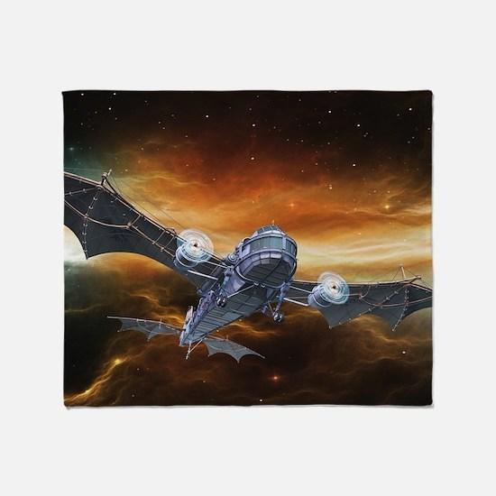 Steampunk Bat Airplane Throw Blanket