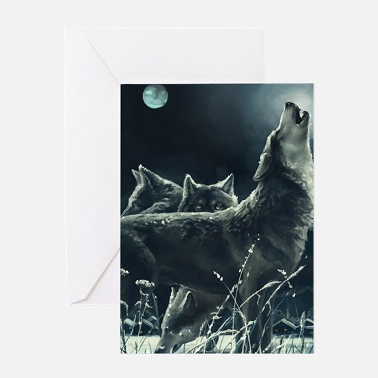 Winter Wolves Greeting Card