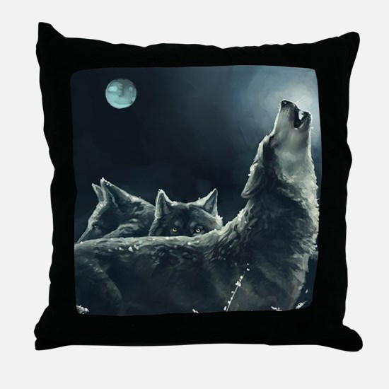 Winter Wolves Throw Pillow