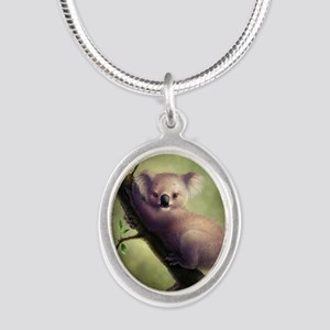 Cute Koala Bear Silver Oval Necklace