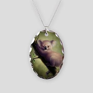 Cute Koala Bear Necklace Oval Charm
