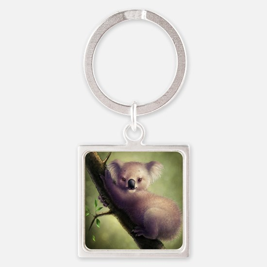 Cute Koala Bear Square Keychain