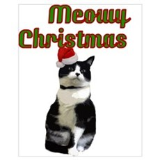 funny cat Meowy Christmas Canvas Art