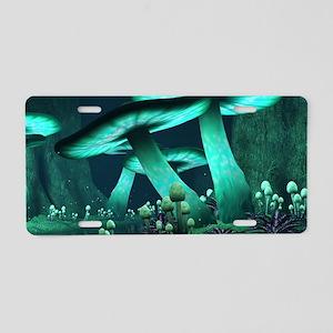 Luminous Mushrooms Aluminum License Plate