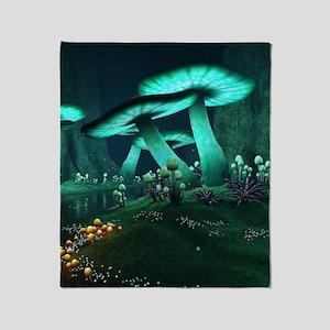 Luminous Mushrooms Throw Blanket