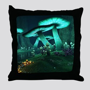 Luminous Mushrooms Throw Pillow