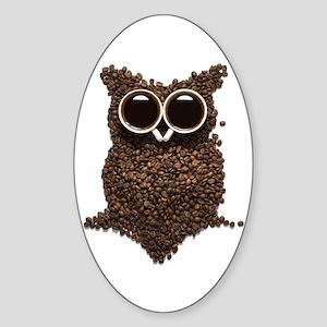 Coffee Owl Sticker (Oval)