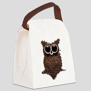 Coffee Owl Canvas Lunch Bag