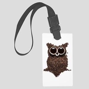 Coffee Owl Large Luggage Tag
