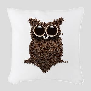 Coffee Owl Woven Throw Pillow