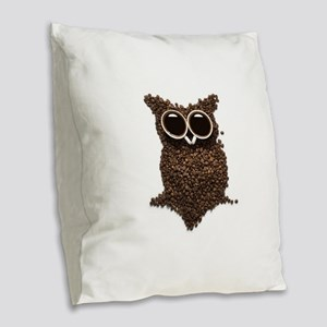 Coffee Owl Burlap Throw Pillow
