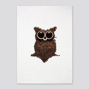 Coffee Owl 5'x7'Area Rug