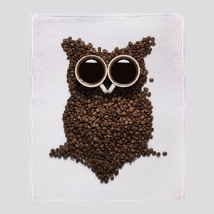 Coffee Owl Throw Blanket