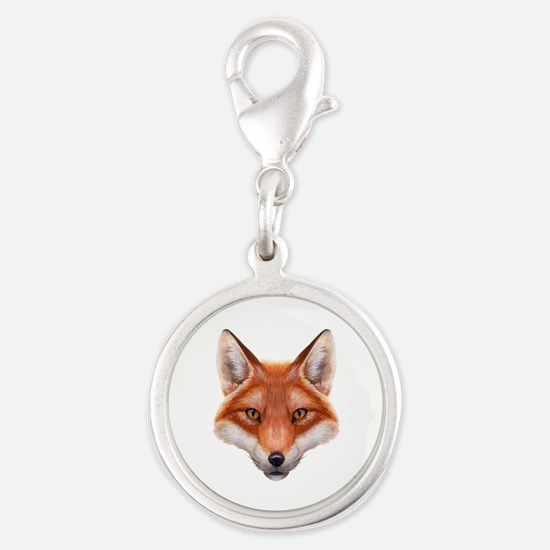 Red Fox Face Silver Round Charm