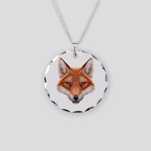 Red Fox Face Necklace Circle Charm