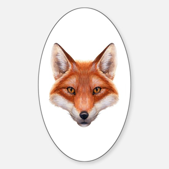 Red Fox Face Sticker (Oval)