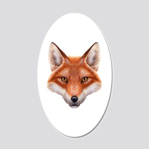 Red Fox Face 20x12 Oval Wall Decal