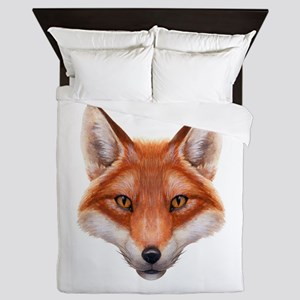 Red Fox Face Queen Duvet