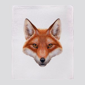 Red Fox Face Throw Blanket