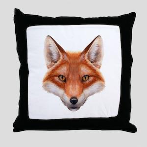 Red Fox Face Throw Pillow