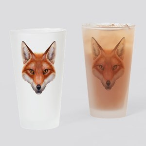 Red Fox Face Drinking Glass