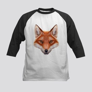 Red Fox Face Kids Baseball Jersey