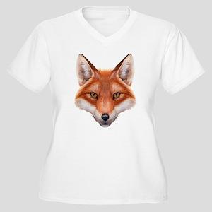 Red Fox Face Women's Plus Size V-Neck T-Shirt