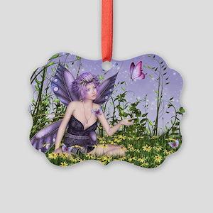 Purple Spring Fairy Picture Ornament