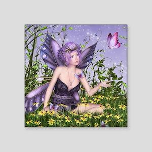 """Purple Spring Fairy Square Sticker 3"""" x 3"""""""