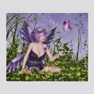 Purple Spring Fairy Throw Blanket
