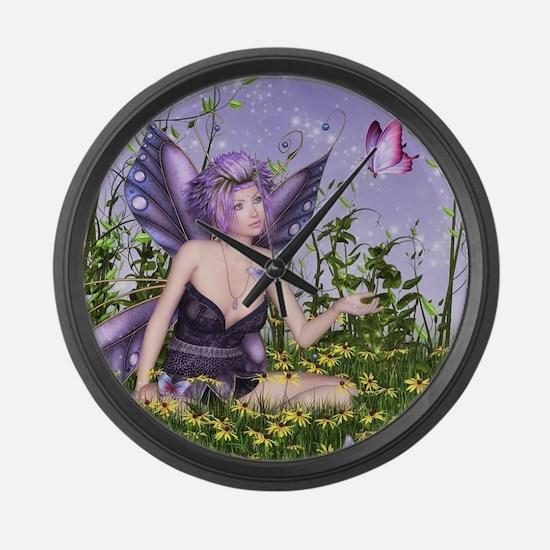 Purple Spring Fairy Large Wall Clock